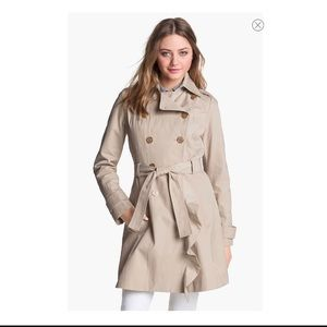 GUESS Ruffle Front Trench Coat